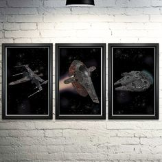 """Star Wars Ships Word Art Print Three Set - 11x17"""". These prints are made entirely out of words! The prints show Luke's X-Wing, Slave One, and the Millennium Falcon, formed with quotes from Star Wars Episodes IV, V, and VI, respectively. Each is an 11x17"""" image printed on archival quality paper. Please note these are prints only, unframed."""
