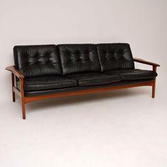Danish Teak Retro Leather Sofa Vintage 1960's