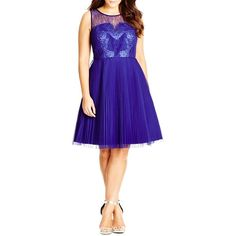 City Chic 'Pleated Darling' Fit & Flare Dress ($149) ❤ liked on Polyvore featuring dresses, dahlia, plus size, blue lace dress, lace cocktail dress, blue skater skirt, blue lace cocktail dress and plus size skater skirt