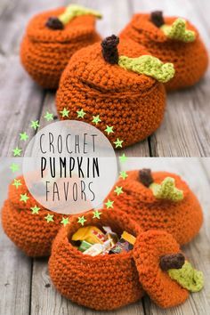 Awesome little crochet pumpkin favors filled with goodies  - perfect for a fall wedding. #diy  #weddingfavors #fallwedding #pumpkinfavors