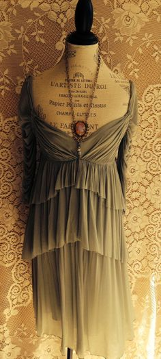 Silk  Dress with ruche and ruffles details by BohoAngels on Etsy, $180.00
