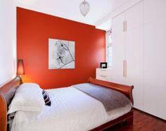 Orange Colour Modern Bedroom Design Idea With Floorboards & Built In Wardrobe - Bedroom