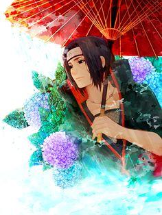 Flowers and Itachi...  Itachi uchiha flower naruto akatsuki rain