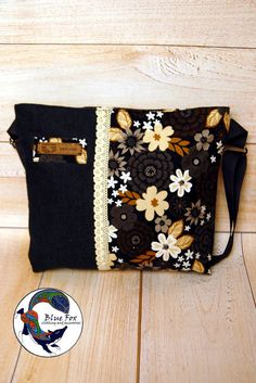Black jeans bag, cotton bag with flowers Flowers in the dark