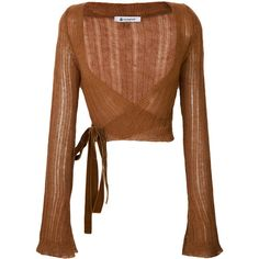 Dondup wrap cardigan ($235) ❤ liked on Polyvore featuring tops, cardigans, brown, wrap cardigan, wrap style top, brown top, wrap top and brown cardigan