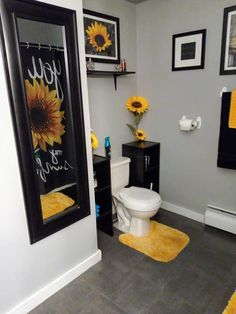 Restroom Decor, Bathroom Decor Apartment, Bathroom Decor Themes, Sunflower Home Decor, Small Bathroom Decor, Future Apartment Decor, Decor Home Living Room, First Apartment Decorating, Apartment Decorating Living