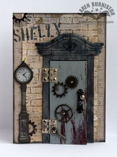 Karen Burniston as I Am Not Left-handed using lots of TH products  to make a Steampunk Door Card - Closed, March 2013