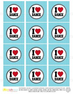 Chevron Cuteness for a DANCE Party! Print at home! DANCE  Printable Cupcake Toppers Sticker by sunshinetulipdesign