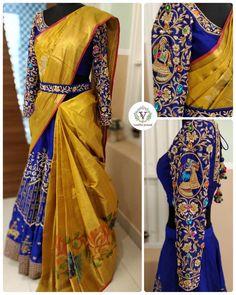 Grand Lehenga designed by Vanitha Explore more lehenga designs here Wedding Saree Blouse Designs, Half Saree Designs, Pattu Saree Blouse Designs, Fancy Blouse Designs, Lehenga Designs Latest, Lehenga Saree Design, Half Saree Lehenga, Saree Look, Red Lehenga