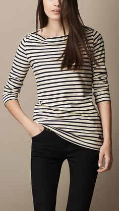 Breton Stripe Cotton Top | Burberry