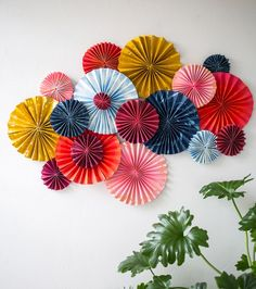 diy chambre facile, des rosaces d éventails colorés, decoration murale a faire soi meme, plante ve Paper Room Decor, Paper Fan Decorations, Chinese New Year Decorations, Paper Wall Art, Diy Wall Art, Diy Wall Decor, Decor Crafts, Diy Art, Wall Decoration With Paper