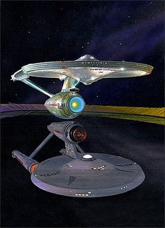 Refitted & her reflection. Nave Enterprise, Enterprise Ship, Star Trek Enterprise, Star Trek Tos, Star Wars, Star Trek Tattoo, Star Trek Wallpaper, Starfleet Ships, Futuristic Background
