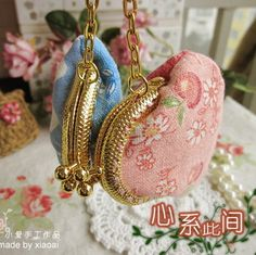Handmade fabric material diy kit for clipping washed cotton mini gold the mouth gold package metal frame coin purses floral