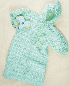 Follow this free crochet pattern to create a bunting bag using Bernat Softee Baby yarn.