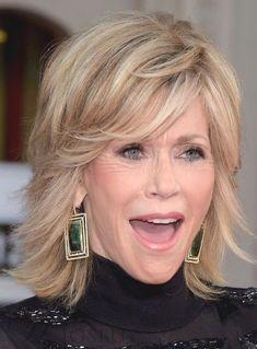 Jane Fonda Fluffy Medium Wavy Human Hair Capless Wigs 12 Inches - My list of women's hairstyles Older Women Hairstyles, Wig Hairstyles, Hairstyles 2016, Trendy Hairstyles, Hairstyle Ideas, Style Hairstyle, Beautiful Hairstyles, Celebrity Hairstyles, Jane Fonda Hairstyles