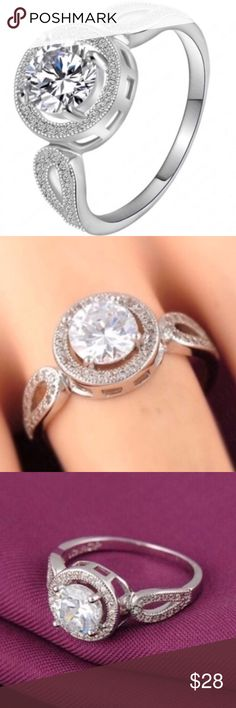 ⚡️SALE⚡️18k White Gold AAA Zircon Halo Engagement This Super Sparkly Ring Is Stamped .925 Sterling Silver With AAA White Zircon. The Surface Is 18k Platinum White Gold Plated. Brand New Boutique Item In Packaging And Mesh Bag Boutique Jewelry Rings