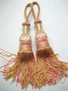 Curtain Tassels Curtain Tiebacks Vanilla Pink Set by dreamworkshop, $14.00