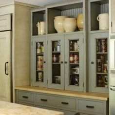 spare space above cabinets - carcasses lined with tongue and grove