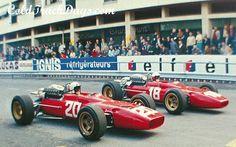Chris Amon, #20, (finished 3rd) & Lorenzo Bandini, #18, (RET-fatal accident), Ferrari, Monaco GP, 1967.