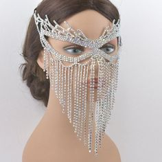 Clear Rhinestone Silver Base or AB Rhinestone Silver Base Masquerade Mask, Wedding mask, Mardi Gras Mask, Queen Mask, New year party mask Masquerade Dresses, Masquerade Party, Masquarade Mask, Ice Queen Costume, Chain Headpiece, Bridal Mask, Mask Party, Black Rhinestone, New Years Party