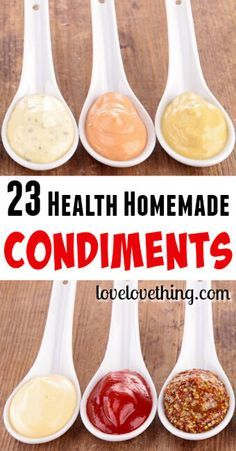 Healthy Snacks 23 healthy homemade condiments for you to try! - Skip all the junk associated with pre-made condiments. Making healthy homemade condiments can be easy and fun, and you have control over the ingredients! Homemade Seasonings, Homemade Sauce, Homemade Food, Healthy Snacks, Healthy Eating, Healthy Recipes, Diet Recipes, Recipies, Sauce Recipes