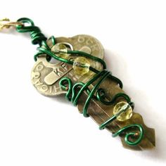 Steampunk Necklace Wire Wrapped Key by AmongTheRuins on Etsy, $22.00