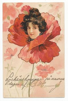 Art Nouveau postcard of lady's face in the center of a poppy, 1902