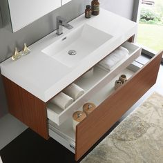 Fresca Mezzo Teak MDF/Aluminum/Glass Wall-hung Modern Bathroom Vanity With Medicine Cabinet Banheiro Pequeno Planejado: Bathroom Sink Vanity, Bathroom Layout, Modern Bathroom Design, Bathroom Storage, Bathroom Ideas, Bathroom Organization, Remodel Bathroom, Bathroom Mirrors, Minimal Bathroom