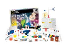 ELEMENTS OF SCIENCE. This National Geographic kit features 100 experiments in biology, chemistry, and physics for ages 10 and up. introduction to the physical and natural sciences, 112-page book guides experiments with water, air, heat, sound, forces, magnetism, electricity, electromagnetism, light, optics, plants and animals, colors, the human body, Earth and Sun, and chemical reactions. For students in grades 4-8. #KIT-14723.