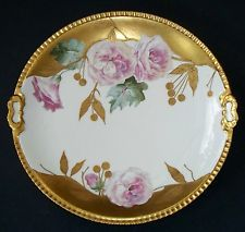 "LRL Limoges Antique Large 13.75"" Plate Charger Hand Painted Signed Henry"