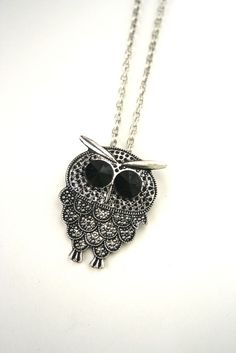 """Goes with any outfit! Silver-burnish, 2"""" owl pendant with black stone eyes 2"""" pendant/30"""" necklace"""