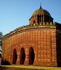 "Temple of ""Madan Mohan"": This temple built by the ""Malla King Durjan Singh"" in AD is the best example in brick of this type with a single ""Sikhara"" on a curved ""Bengal Chala"" roof. Its Terracotta panels are also noteworthy. Indian Temple Architecture, India Architecture, Religious Architecture, Ancient Architecture, Amazing Architecture, Ancient Buildings, Temple India, Hindu Temple, Historical Monuments"