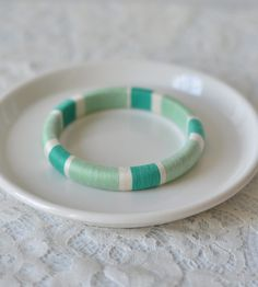 Thread Wrapped Bangle Bracelet - Mint Green and White | Jewelry | The Glossy Queen | Scoutmob Shoppe | Product Detail