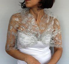 Silver Lace Wrap Shrug Shawl Bolero French Sheer by mammamiaeme