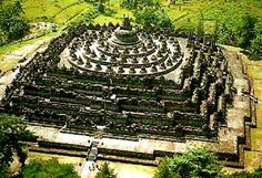 Borobudor in Java, Indonesia.  A really cool, really big monument to Buddha.  We climbed to the very top.  The vista is amazing.