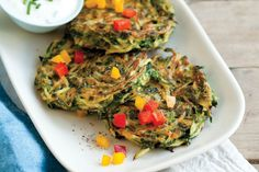 Zucchini Croquettes with Bell Pepper Confetti. These pretty summer hors d'oeuvres can be made ahead and served at room temperature. Weight Watchers Zucchini, Weight Watchers Appetizers, Weight Watchers Vegetarian, Weight Watchers Meals, Vegetarian Times, Vegetarian Recipes, Healthy Recipes, Vegetable Recipes, Healthy Meals