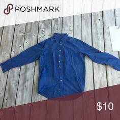 Men Blue & Black Striped Dress Shirt Blue striped men dress shirt. 60% cotton 40% polyester. Worn few times but still in great condition. No stains or rips. Merona Shirts Dress Shirts