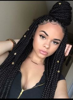 Long Box Braids: 67 Hairstyles To Upgrade Your Box Braids - Hairstyles Trends Nigerian Braids Hairstyles, Box Braids Hairstyles, Protective Hairstyles, Protective Styles, Drawing Hairstyles, Korean Hairstyles, Hairstyles 2018, African Hairstyles, Black Girl Braids