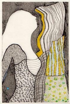 Kvinde Gul Collografi, tusch 20x15