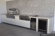 Great feature wall for steel outdoor kitchen