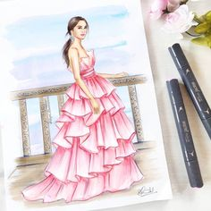 Oh look! 😊 ☕ Always a good idea for such cold, winter… – Wedding dress fashion Dress Design Drawing, Dress Design Sketches, Fashion Design Sketchbook, Dress Drawing, Fashion Design Drawings, Art Sketchbook, Fashion Illustration Tutorial, Fashion Illustration Collage, Dress Illustration