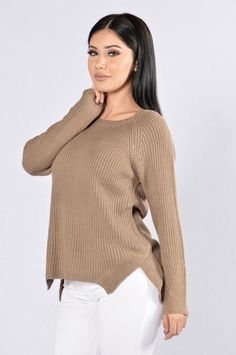 Ribbed My Heart Sweater - Coffee $20 (sale)