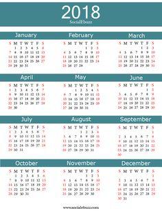 2018 Calendar Word  http://socialebuzz.com/2018-calendar-printable-template/
