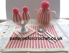 Free Placemat, Coaster & Teacosy Crochet Pattern, with matching egg cosies from http://www.patternsforcrochet.co.uk/placemat-coaster-teacosy-usa.html very pretty design. #patternsforcrochet