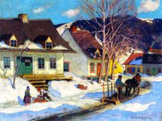A Quebec Village Street, Winter  by Clarence Gagnon   Giclee Canvas Print Repro
