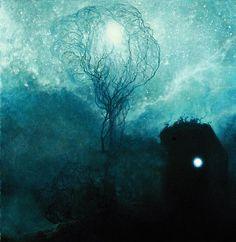 Z. Beksiński,Drzewo Nocy w Nawi Piekło, gdzie posadowił swój zamyk Bodnyjak – Pan Nocy #Paintings #Art #Polish