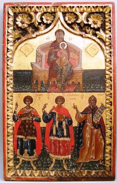 Two register icon with the Mother of God enthroned and the lower register SS George,Pentileimon and Elias. Orthodox Icons, 17th Century, Ss, World, Painting, Collection, Painting Art, Paintings, Painted Canvas