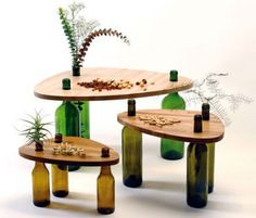 Side Tables Made From Reused Bottles And Wood BY Tati Guimarães