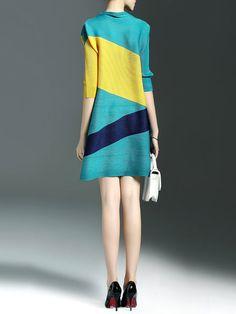 Color-block Ribbed Mini Dress
