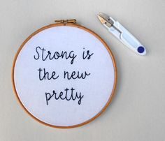 Feminist embroidery hoop art Custom handwriting Modern hand embroidery Inspirational quote Wall decor Feminist gift for women by RedWorkStitches on Etsy